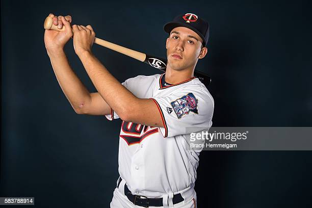 Draft first round pick Alex Kirilloff of the Minnesota Twins poses for a photo prior to the game against the Philadelphia Phillies on June 23 2016 at...