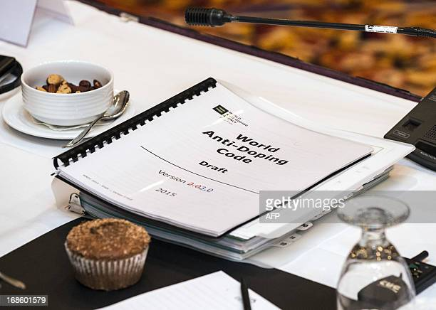 A draft of the World AntiDoping Agency code to be discussed is seen before a meeting of the Executive Committee and Foundation Board May 12 2013 in...