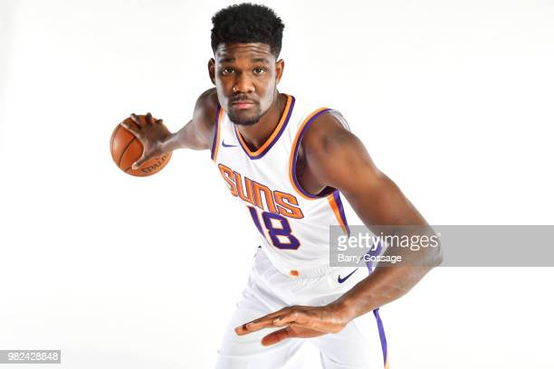 Draft pick DeAndre Ayton poses for a portrait at the Post NBA Draft press conference on June 22 at Talking Stick Resort Arena in Phoenix Arizona NOTE...