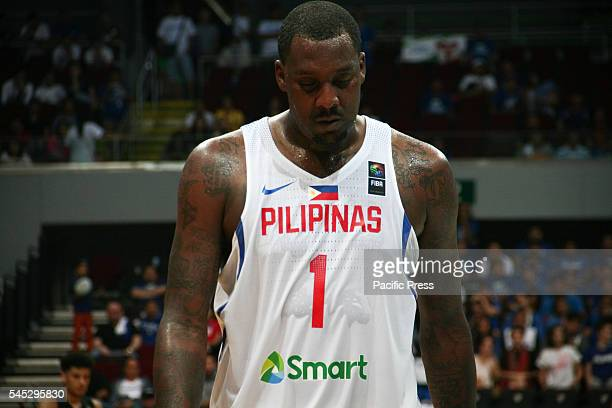 NBA draft pick for the Washington Wizzards Andray Blatche walks off court after a foul during the qualifying games New Zealand and the Philippines...