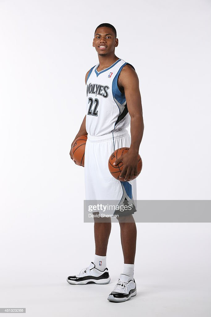 Draft pick Glenn Robinson III #22 of the MInnesota Timberwolves poses for portraits on June 27, 2014 at Target Center in Minneapolis, Minnesota.
