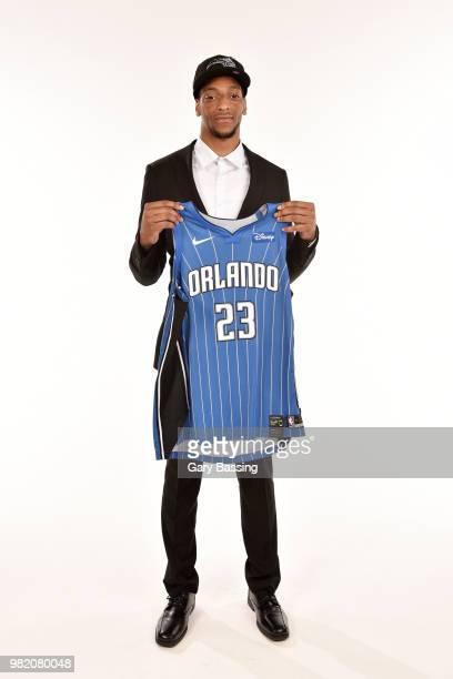 Draft Pick Justin Jackson poses for a photo at the Orlando Magic Draft Press conference on June 22 2018 at Amway Center in Orlando Florida NOTE TO...