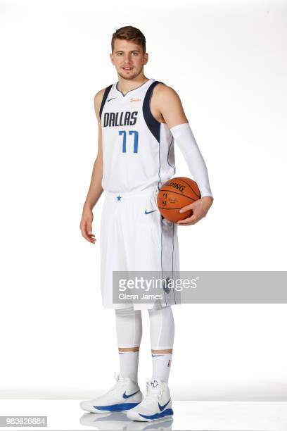 Draft pick Luka Doncic of the Dallas Mavericks poses for a portrait at the Post NBA Draft press conference on June 22 2018 at the American Airlines...