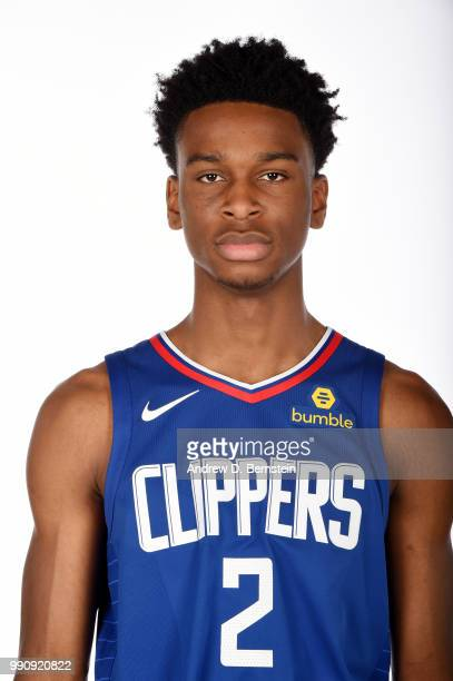 Draft Pick Shai GilgeousAlexander of the LA Clippers poses for a photo during the Draft Press Conference at the Clippers Training Facility in Playa...