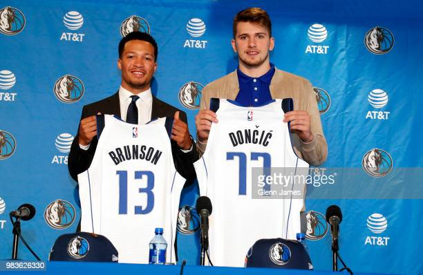 Draft Picks Jalen Brunson and Luka Doncic pose for a photo at the Post NBA Draft press conference on June 22 2018 at the American Airlines Center in...