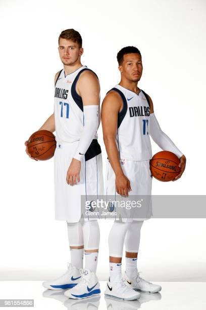 Draft Picks Jalen Brunson and Luka Doncic pose for a portrait at the Post NBA Draft press conference on June 22 2018 at the American Airlines Center...
