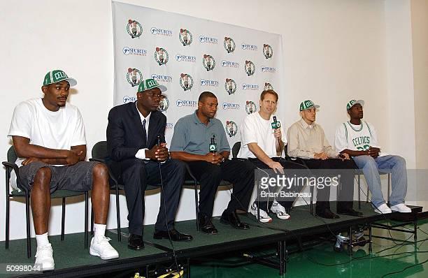 Draft Picks Justin Reed Al Jefferson coach Doc Rivers Danny Ainge Delonte West and Tony Allen during the Boston Celtics draft pick press conference...