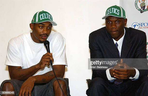 2004 Draft Picks Justin Reed and Al Jefferson speak to the media during the Boston Celtics draft pick press conference June 25 2004 in Waltham...