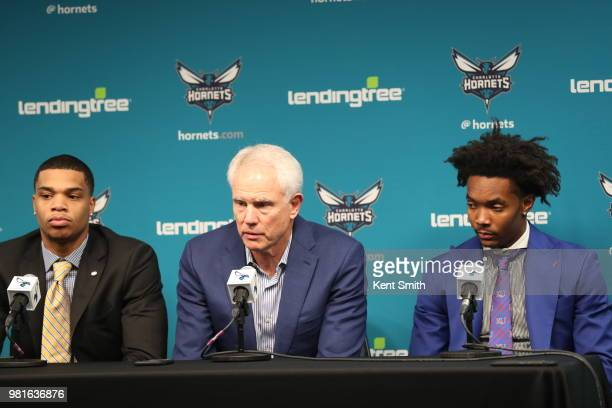 19279c493 Draft Picks Miles Bridges and Devonte  Graham look on with General Manager  Mitch Kupchak during