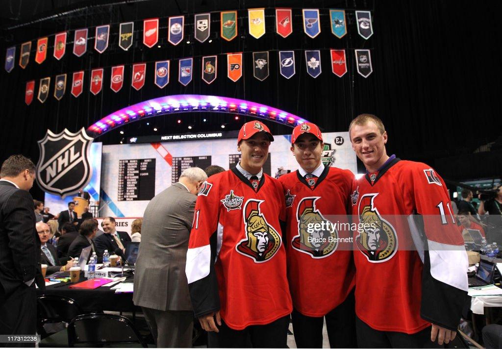 Draft picks Stefan Noesen, Mika Zibanejad and Fredrik Claesson of the Ottawa Senators pose during day two of the 2011 NHL Entry Draft at Xcel Energy Center on June 25, 2011 in St Paul, Minnesota.