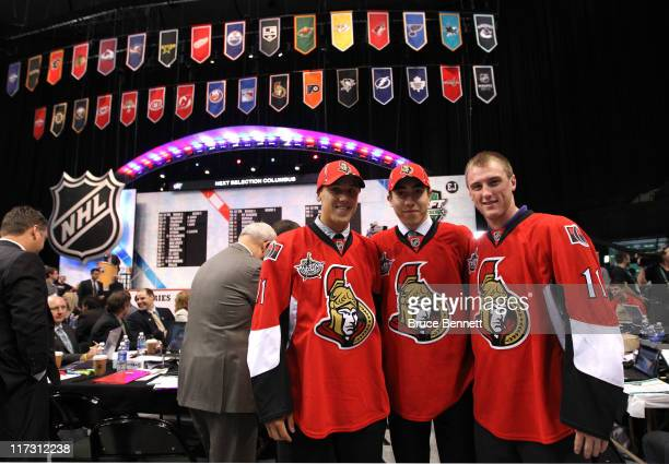 Draft picks Stefan Noesen Mika Zibanejad and Fredrik Claesson of the Ottawa Senators pose during day two of the 2011 NHL Entry Draft at Xcel Energy...
