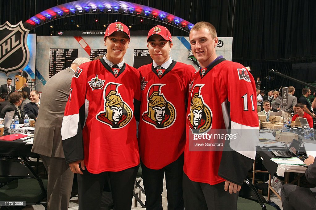 Draft picsk Stefan Noesen, Mika Zibanejad and Fredrik Claesson of the Ottawa Senators pose during day two of the 2011 NHL Entry Draft at Xcel Energy Center on June 25, 2011 in St Paul, Minnesota.