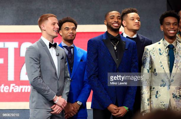Draft Porspects Donte DiVincenzo Jerome Robinson Mikal Bridges and Kevin Knox pose for a photo during the 2018 NBA Draft at the Barclays Center on...