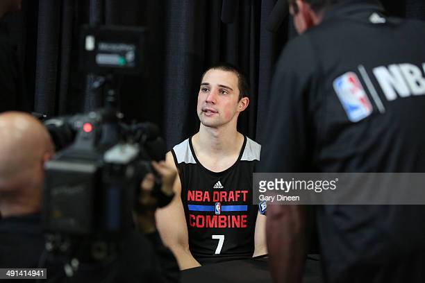 NBA draft prospect Aaron Craft answers questions during a media circuit at the 2014 Draft Combine on May 15 2014 at Quest Multisport in Chicago...