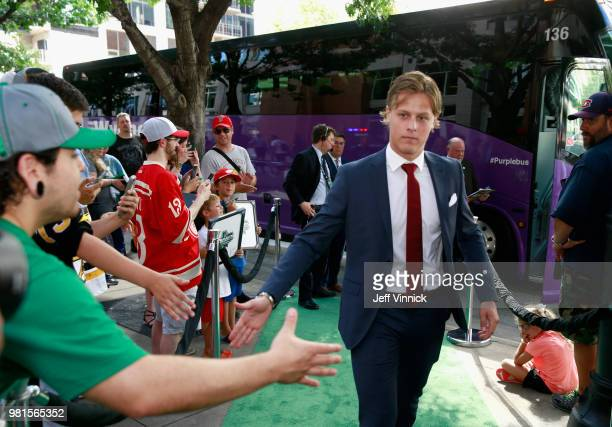 Draft prospect Adam Boqvist arrives for the first round of the 2018 NHL Draft at American Airlines Center on June 22 2018 in Dallas Texas