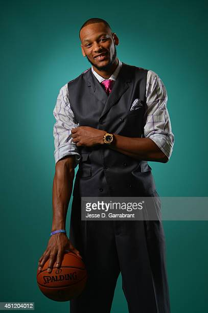 Draft Prospect Adreian Payne poses for portraits during media availability as part of the 2014 NBA Draft on June 25 2014 at the Westin Times Square...