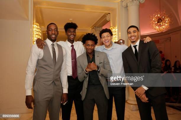 Draft Prospect Bam Adebayo Jonathan Isaac De'Aaron Fox Justin Jackson and Jayson Tatum poses for a photo before speaking to the media during media...