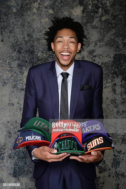 Draft Prospect Brandon Ingram poses for some portraits with some draft hats prior to the 2016 NBA Draft Lottery on May 17 2016 at the NBA...