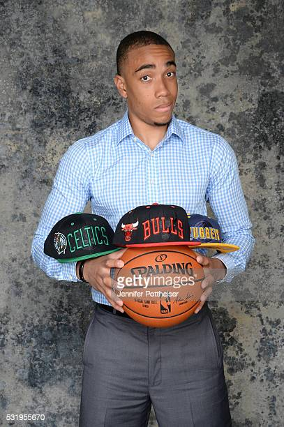 Draft Prospect Brice Johnson poses for some portraits with some draft hats prior to the 2016 NBA Draft Lottery on May 17 2016 at the NBA Headquarters...
