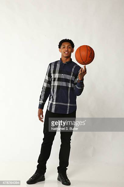 Draft Prospect Cameron Payne poses for portraits during media availability and circuit as part of the 2015 NBA Draft on June 24 2015 at the Westin...
