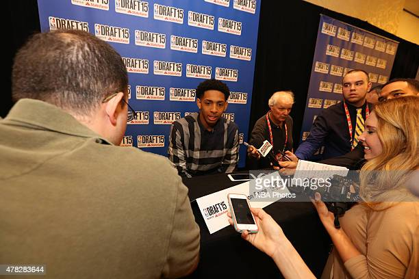 Draft Prospect Cameron Payne speaks to the media during media availability as part of the 2015 NBA Draft on June 24 2015 at the Westin Times Square...