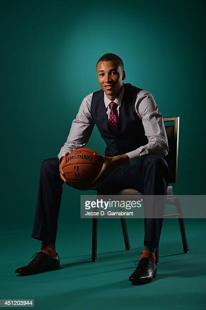 Draft Prospect Dante Exum poses for portraits during media availability as part of the 2014 NBA Draft on June 25 2014 at the Westin Times Square in...