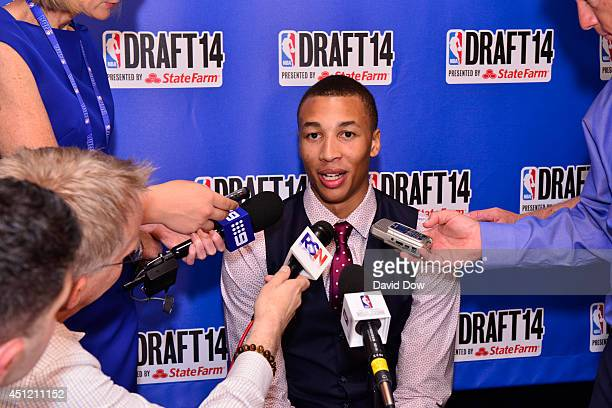 Draft Prospect Dante Exum speaks to the media during media availability as part of the 2014 NBA Draft on June 25 2014 at the Westin Times Square in...