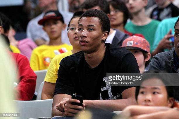 NBA draft prospect Dante Exum watches the round 18 NBL match between the Melbourne Tigers and the Adelaide 36ers at Hisense Arena in February 16 2014...