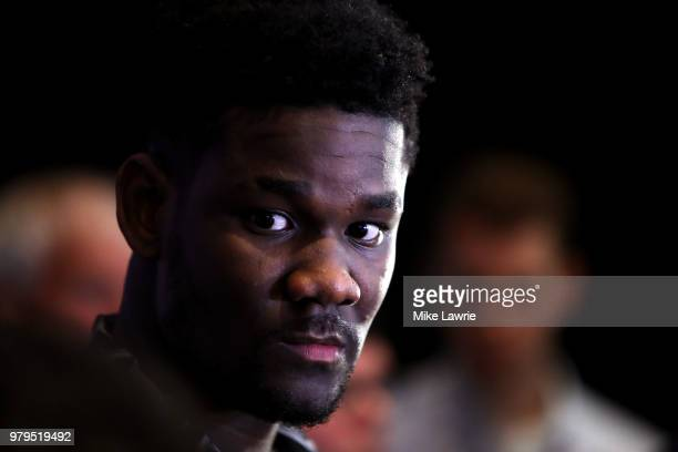 NBA Draft Prospect Deandre Ayton speaks to the media before the 2018 NBA Draft at the Grand Hyatt New York Grand Central Terminal on June 20 2018 in...