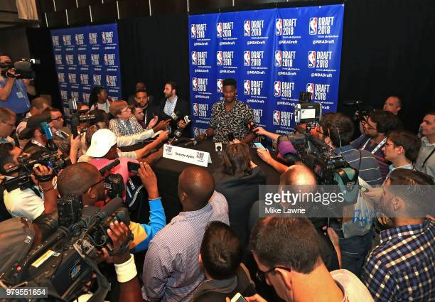 Draft Prospect Deandre Ayton speaks to the media before the 2018 NBA Draft at the Grand Hyatt New York Grand Central Terminal on June 20 2018 in New...
