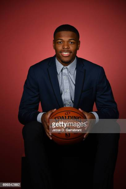Draft Prospect Dennis Smith poses for portraits during media availability and circuit as part of the 2017 NBA Draft on June 21 2017 at the Grand...