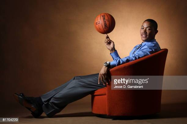 NBA Draft Prospect Derrick Rose poses for a portrait during media availability for the 2008 NBA Draft on June 25 2008 at The Westin Hotel in Times...