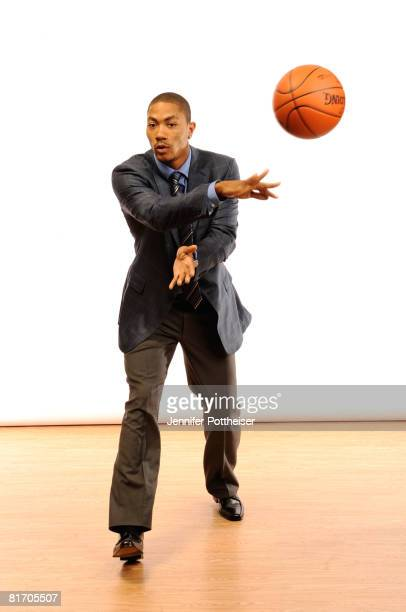 Draft Prospect Derrick Rose poses for a portrait during media availability for the 2008 NBA Draft on June 25 2008 at The Westin Hotel Times Square in...