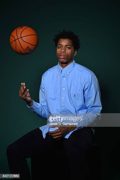 Draft Prospect Deyonta Davis poses for portraits during media availability and circuit as part of the 2016 NBA Draft on June 22 2016 at the Grand...