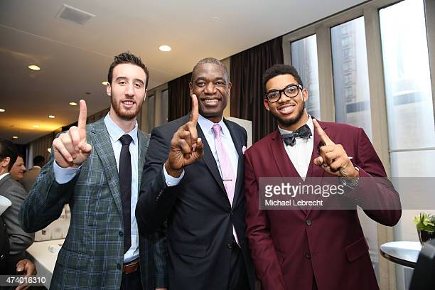 Draft Prospect Frank Kaminsky NBA Global Ambassador Dikembe Mutombo and Karl Anthony Towns during the 2015 NBA Draft Lottery reception on May 19 2015...