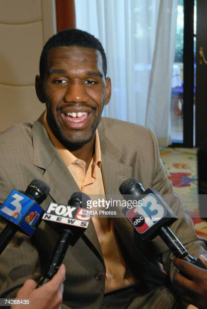 NBA draft prospect Greg Oden is interviewed by the media during the USA Basketball press conference held May 23 2007 at the Wynn Resort in Las Vegas...