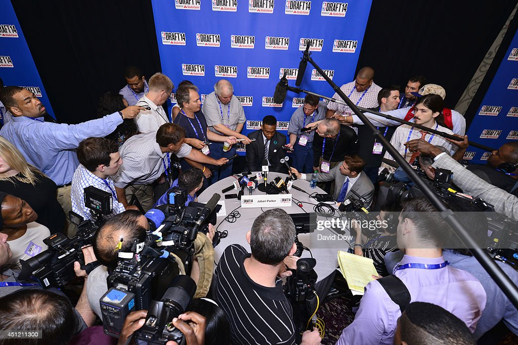 NBA Draft Prospect Jabari Parker, speaks to the media during media availability as part of the 2014 NBA Draft on June 25, 2014 at the Westin Times Square in New York City.