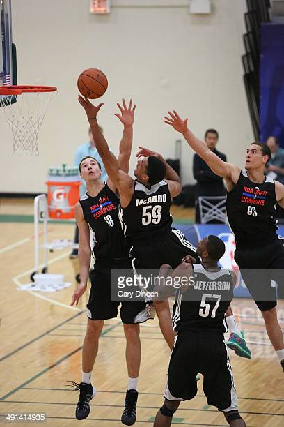 NBA draft prospect James Michael McAdoo participates in drills during the 2014 Draft Combine on May 15 2014 at Quest Multisport in Chicago Illinois...