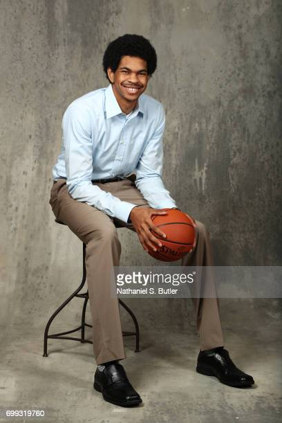Draft Prospect Jarrett Allen poses for portraits during media availability and circuit as part of the 2017 NBA Draft on June 21 2017 at the Grand...