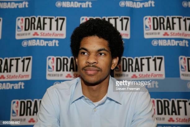 Draft Prospect Jarrett Allen speaks to the media during media availability as part of the 2017 NBA Draft on June 21 2017 at the Grand Hyatt New York...