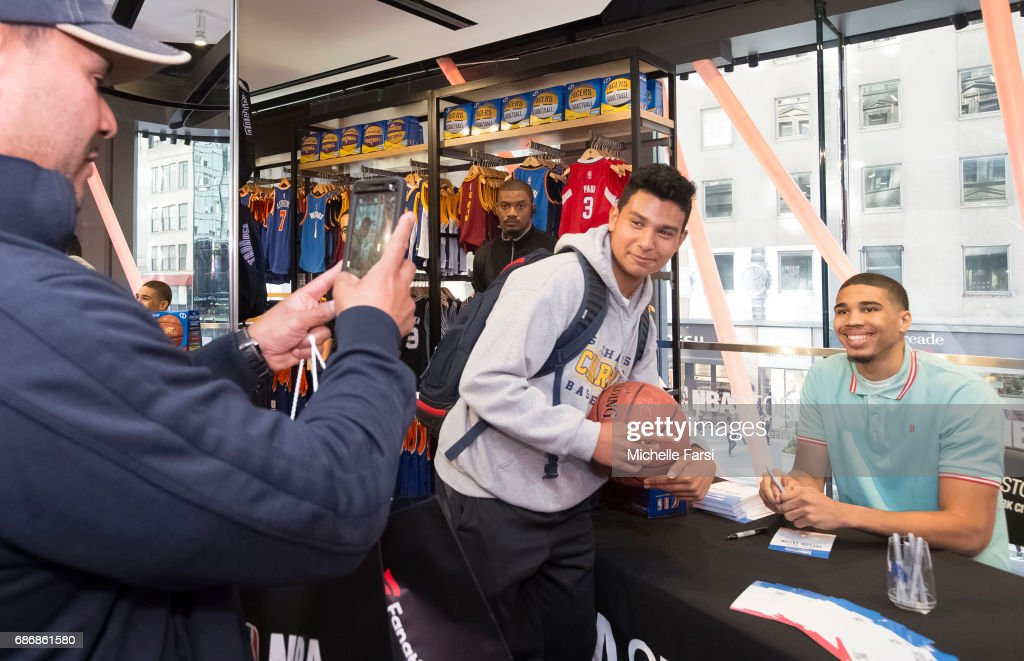 newest 2e268 73ac0 Draft prospect, Jayson Tatum visits the NBA Store in New ...