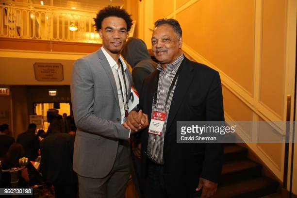 Draft Prospect Jerome Robinson is photographed with American Civil Rights Activist Jesse Jackson during the NBA Draft Lottery on May 15 2018 at The...