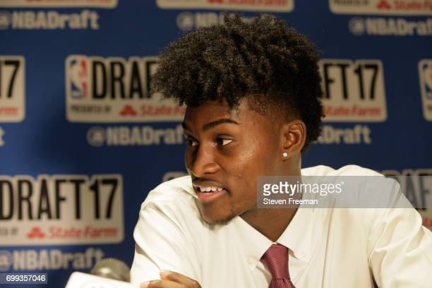 Draft Prospect Jonathan Isaac speaks to the media during media availability as part of the 2017 NBA Draft on June 21 2017 at the Grand Hyatt New York...