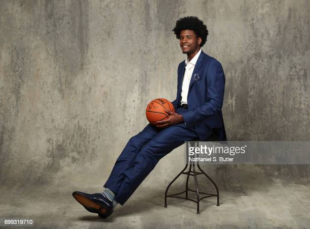 Draft Prospect Josh Jackson poses for portraits during media availability and circuit as part of the 2017 NBA Draft on June 21 2017 at the Grand...