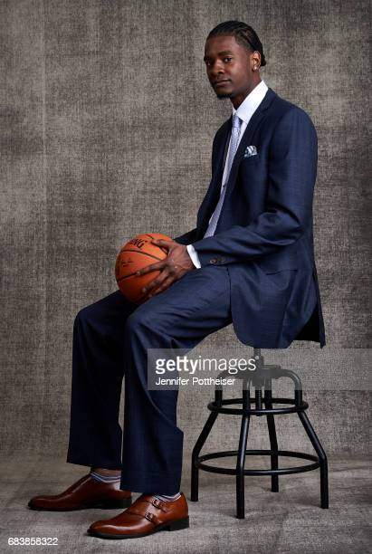 Draft prospect Josh Jackson poses for portraits prior to the 2017 NBA Draft Lottery at the NBA Headquarters in New York New York NOTE TO USER User...