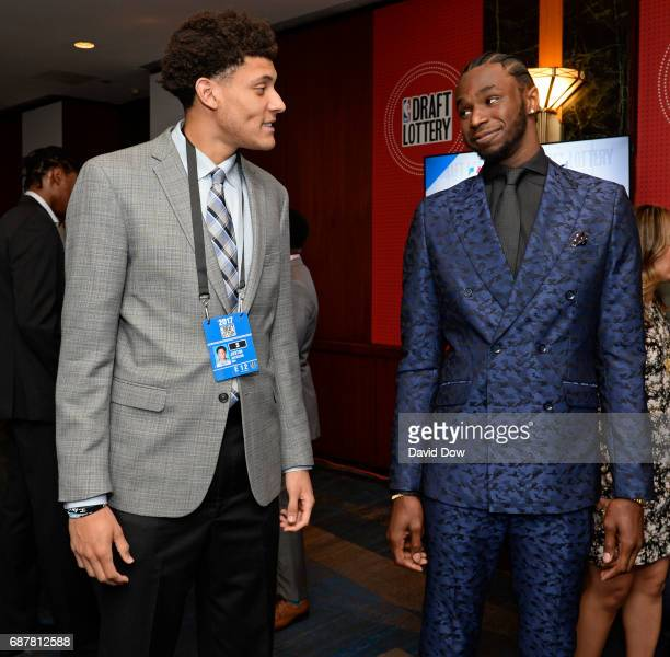 Draft Prospect Justin Jackson talks with Andrew Wiggins of the Minnesota Timberwolves during the 2017 NBA Draft Lottery at the New York Hilton in New...