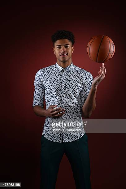 Draft Prospect Kelly Oubre poses for portraits during media availability and circuit as part of the 2015 NBA Draft on June 24 2015 at the Westin...