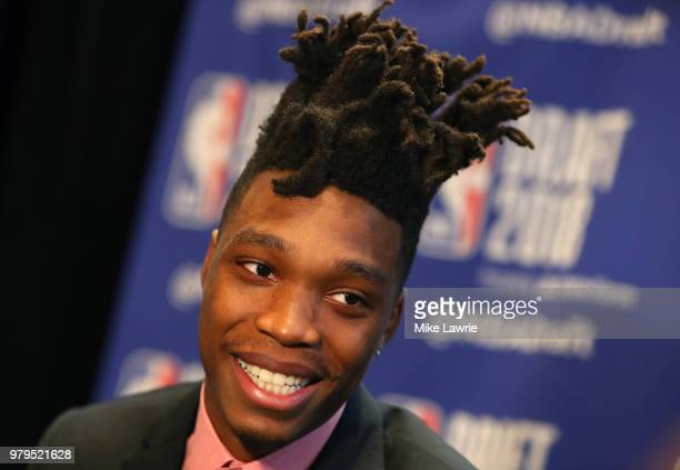Draft Prospect Lonnie Walker IV speaks to the media before the 2018 NBA Draft at the Grand Hyatt New York Grand Central Terminal on June 20 2018 in...