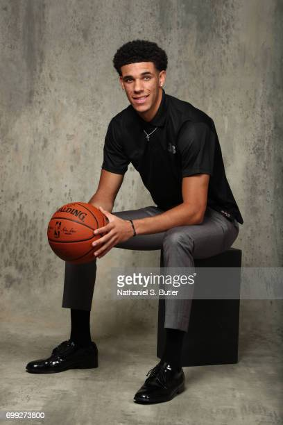 Draft Prospect Lonzo Ball poses for portraits during media availability and circuit as part of the 2017 NBA Draft on June 21 2017 at the Grand Hyatt...