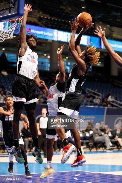 Draft Prospect, Neemias Queta jumps to block the shot during the 2021 NBA Draft Combine on June 24, 2021 at the Wintrust Arena in Chicago, Illinois....